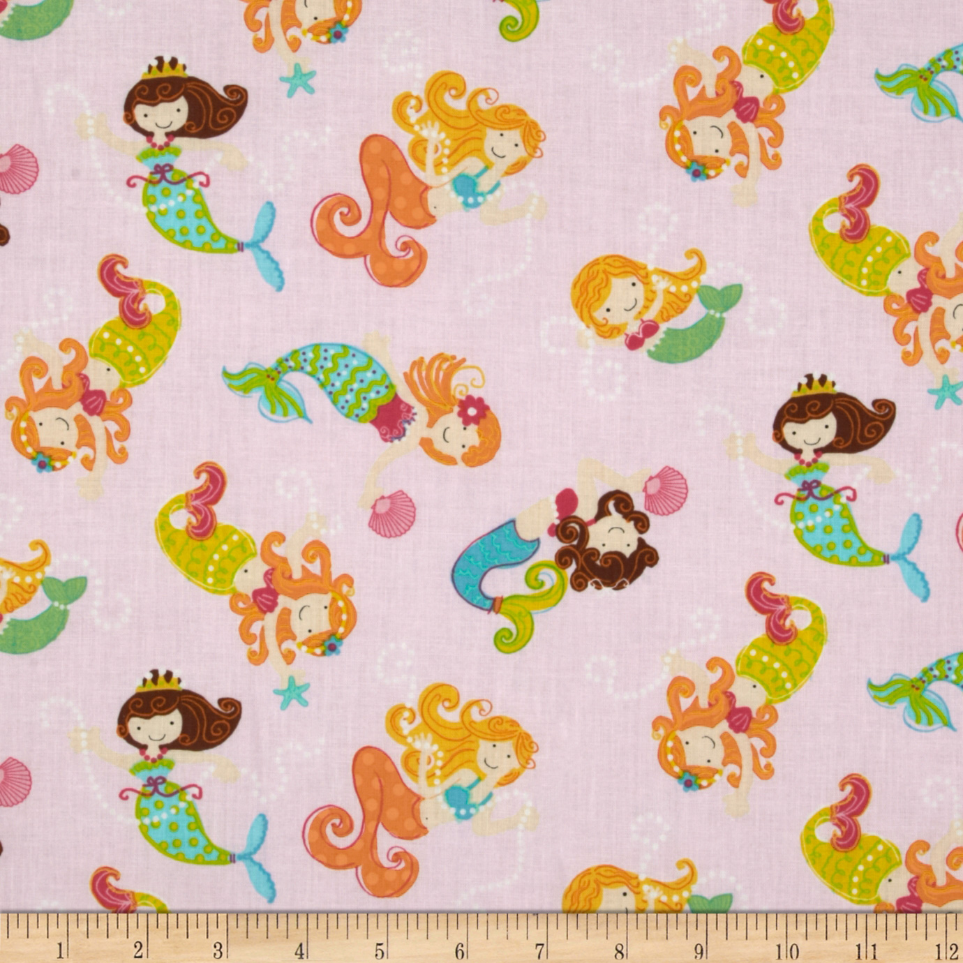 Timeless Treasures Mermaids Pink Fabric
