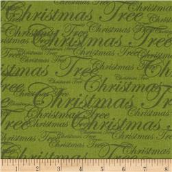 Christmas Tree Glitz Words Green