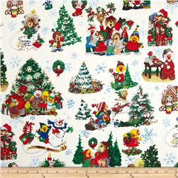 Suzy's Zoo Christmas Character Scene Snow Fabric