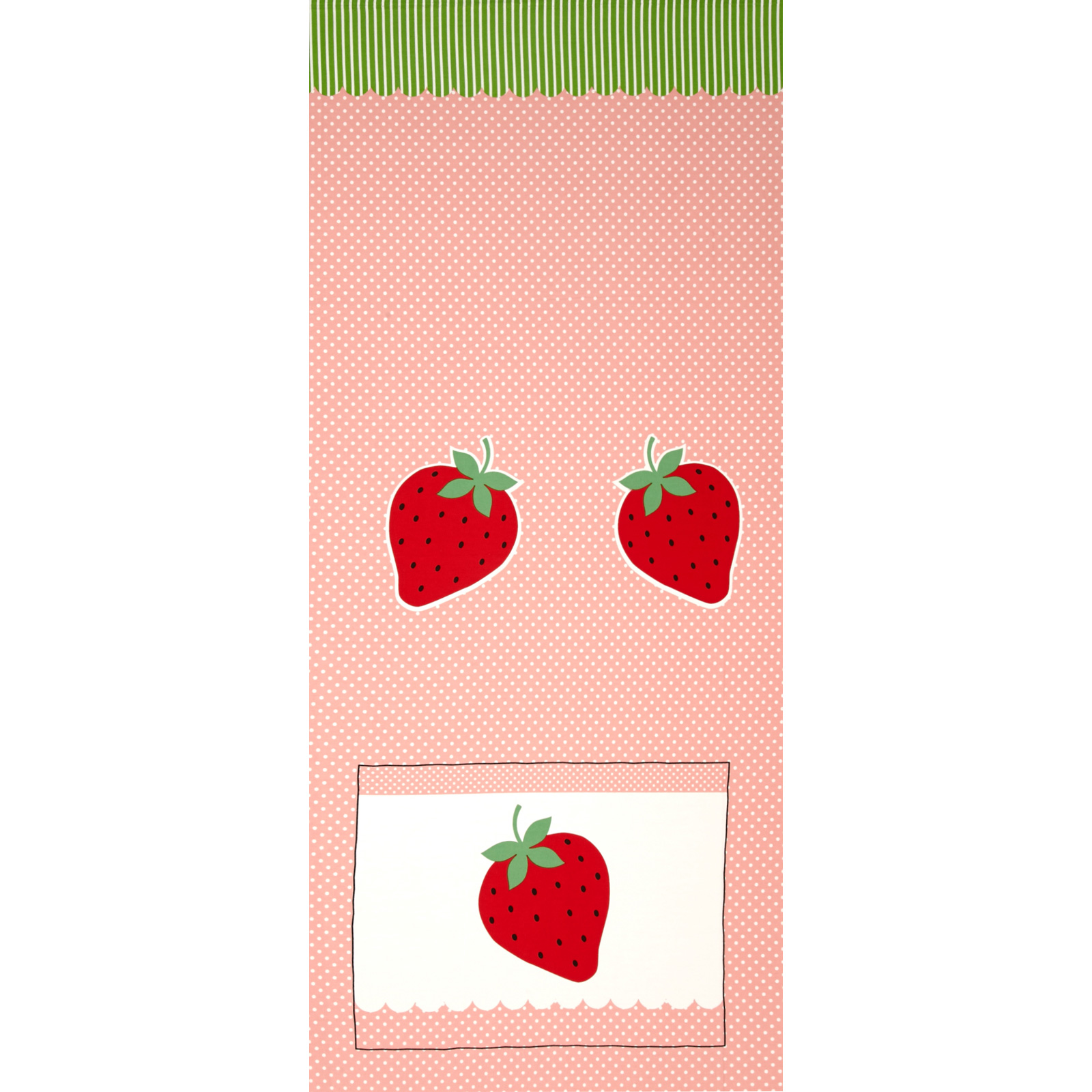 Image of Seven Islands Strawberries and Polka Dots Pink Fabric