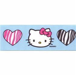 "7/8"" Hello Kitty Zebra Hearts Ribbon Blue"