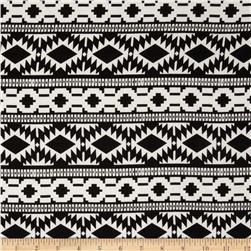 Cotton Rayon Challis Aztec Black/White