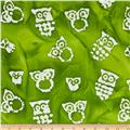 Indian Batik Owls Lime