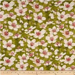 Velvet Blossoms Flannel Floral Green