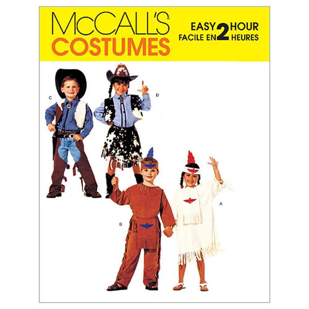 McCall's Children's, Boys' and Girls' Cowboys and Indians Costumes Pattern M2851 Size 020