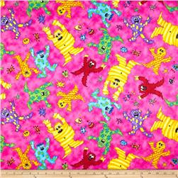 Quilting Treasures Monster Mash Tossed Monsters Pink