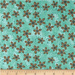 Romance Flowers & Dots Aqua/Brown