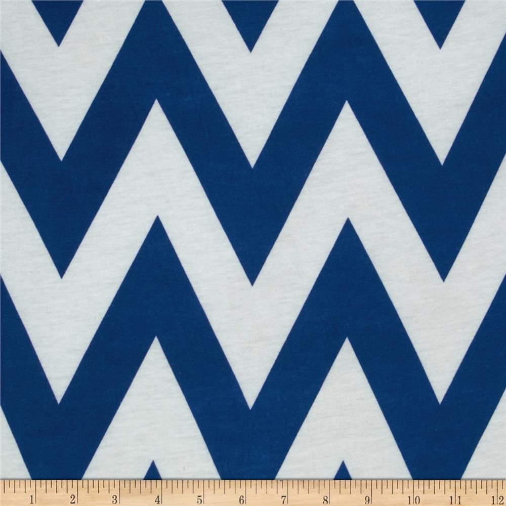 Fashionista Jersey Knit Medium Chevron Blue/White