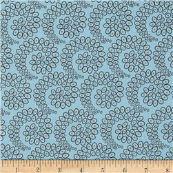 Silk Road Circles in Spirals Light Blue/Brown