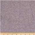 Wool Blend Coating Herringbone Lavender/White