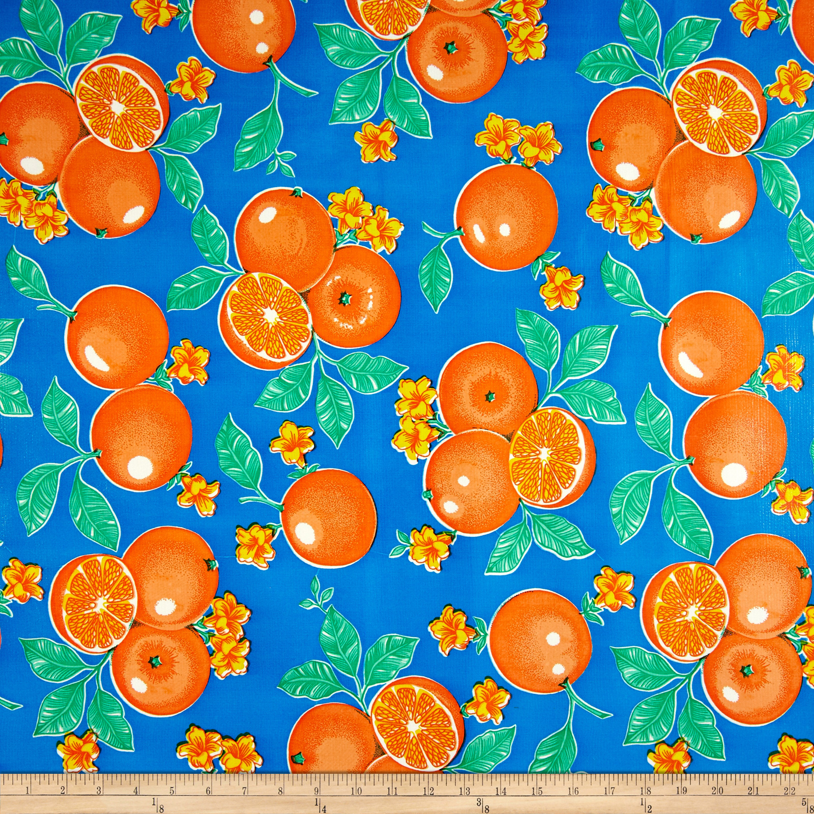 Oil Cloth Oranges Blue Fabric