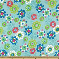 Irving Street Flannel Flower Power Aqua