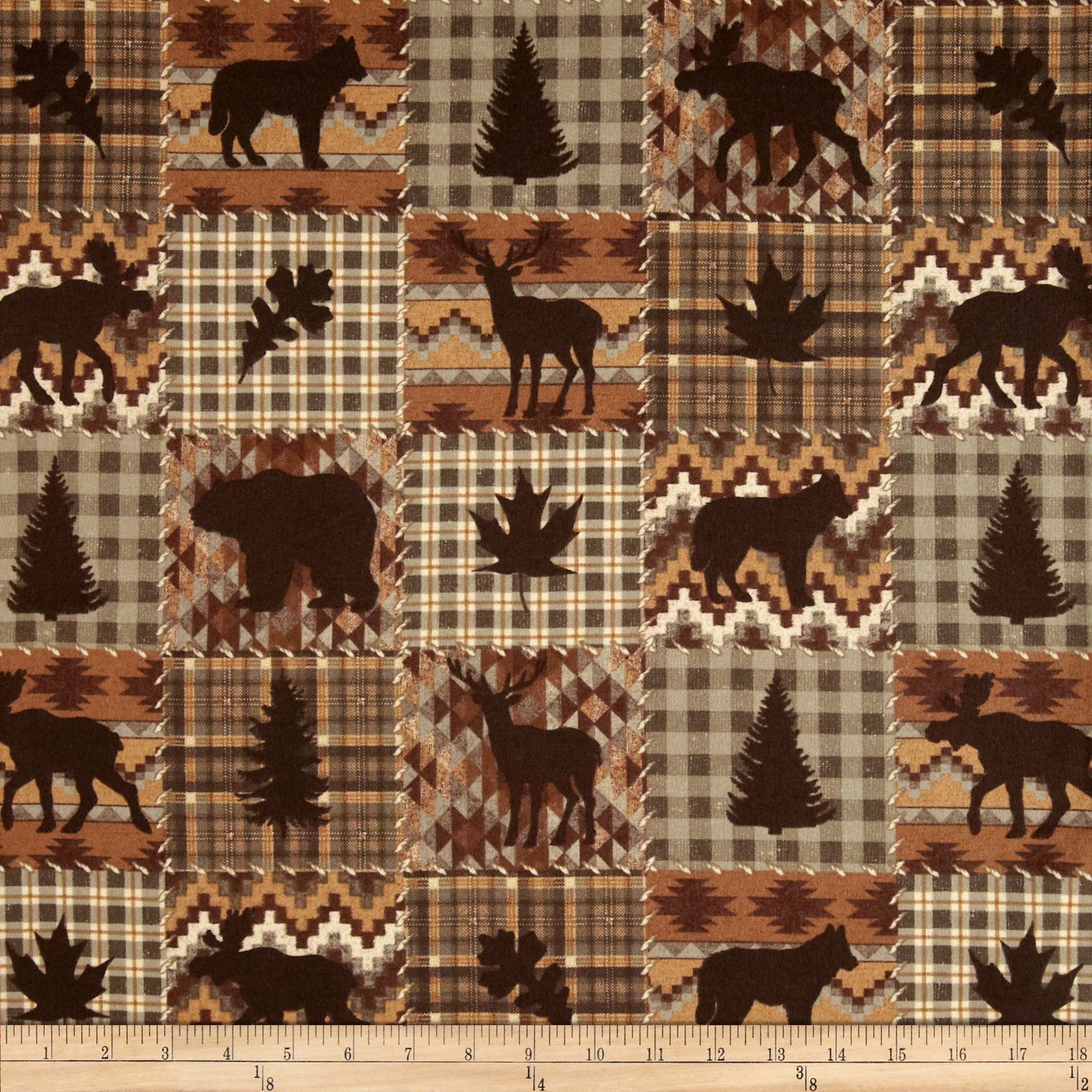 Timber Lodge Flannel Patch Earth Brown
