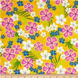 Beach Party Floral Golden Yellow Fabric