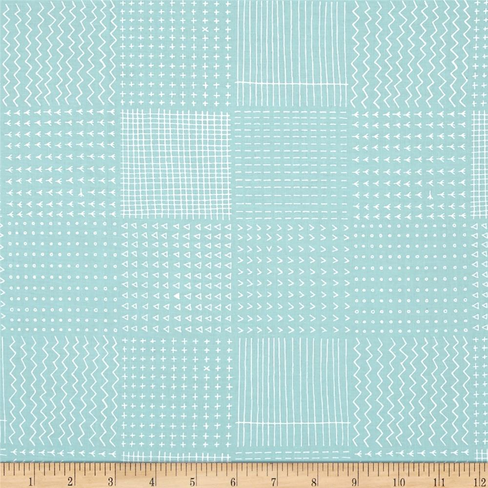 Kaufman Blueberry Park Geo Plaid Aqua