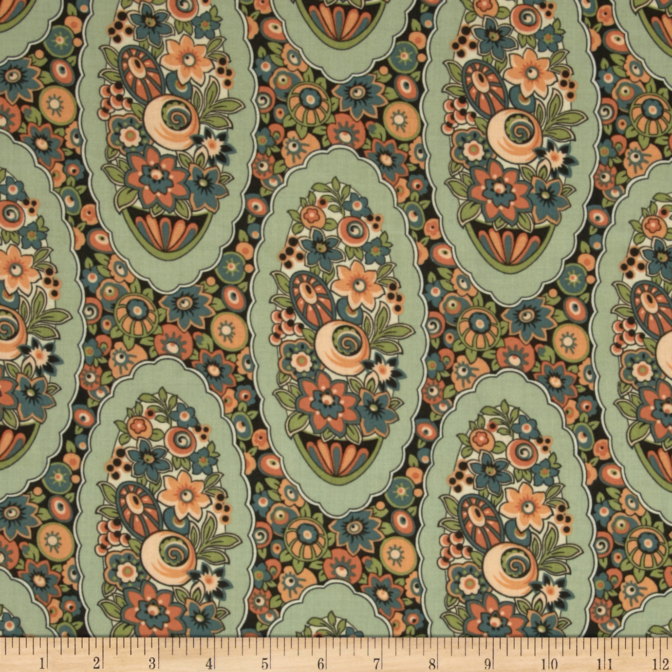 Downton Abbey Lady Edith Medallion Green Fabric