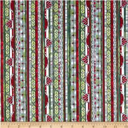 Stained Glass Christmas Stripe Frost/Silver Fabric