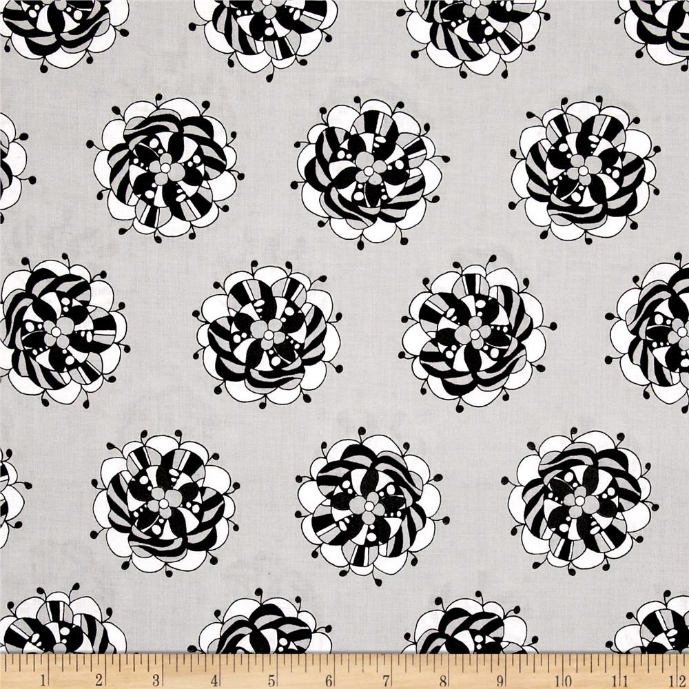 Licorice Fizz Retro Flowers Grey