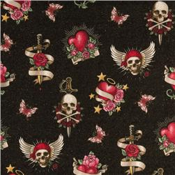 Glam Skulls & Hearts Glitter Black Fabric