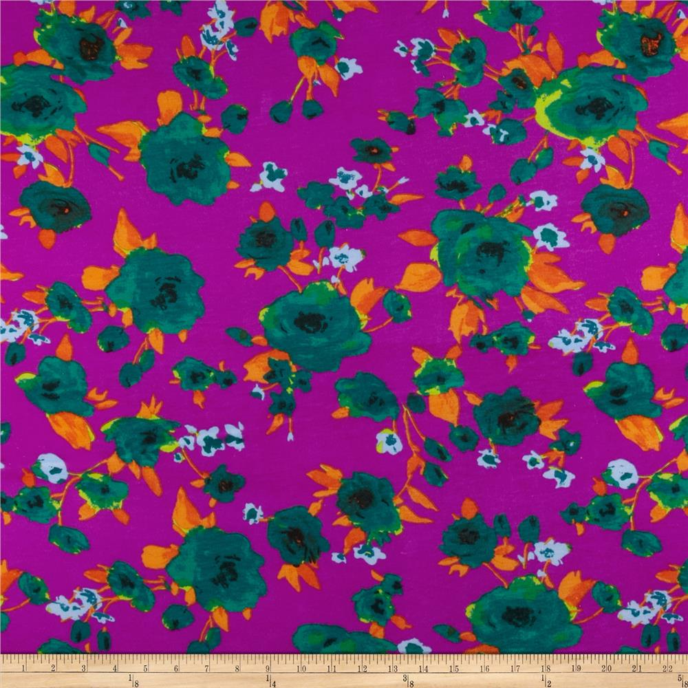 Soft Jersey Knit Floral Purple/Green/Orange