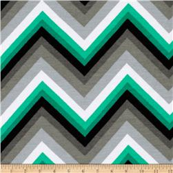 Kaufman Laguna Stretch Jersey Knit Chevron Emerald Fabric