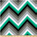 Laguna Stretch Cotton Jersey Chevron Emerald