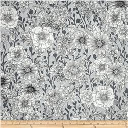 Black White & Currant 6 Floral White/Grey Fabric