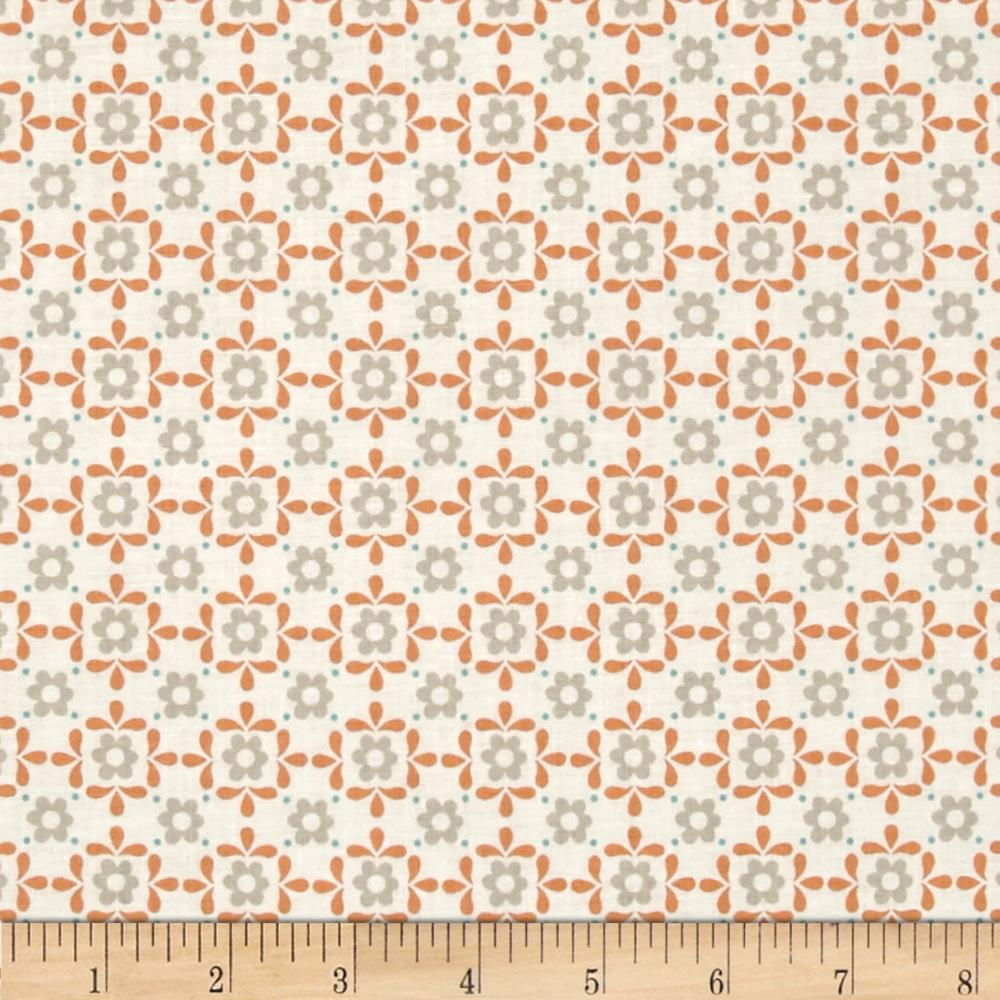 Lewis & Irene Sam & Mitzi Linen Daisy White Fabric By The Yard