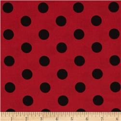 Lycra Spandex Jersey Knit Polka Dots Red/Black