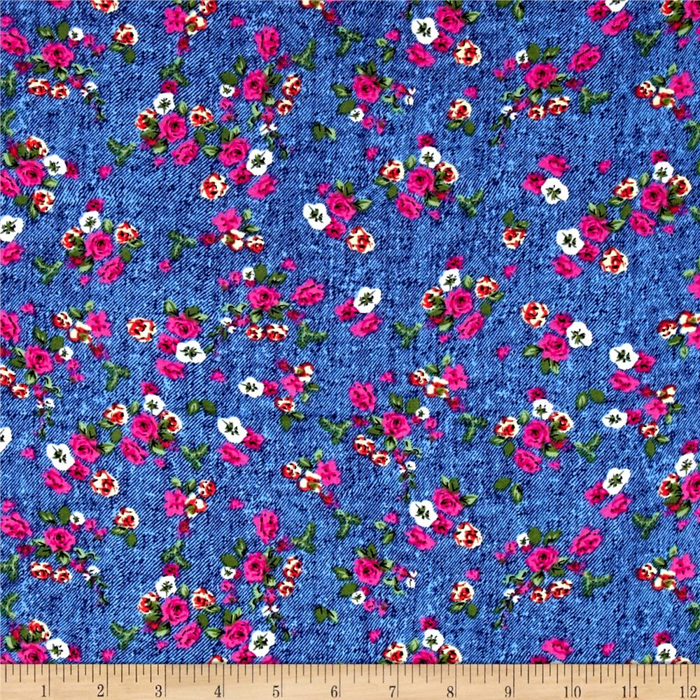 Light Chambray Floral Rayon Challis