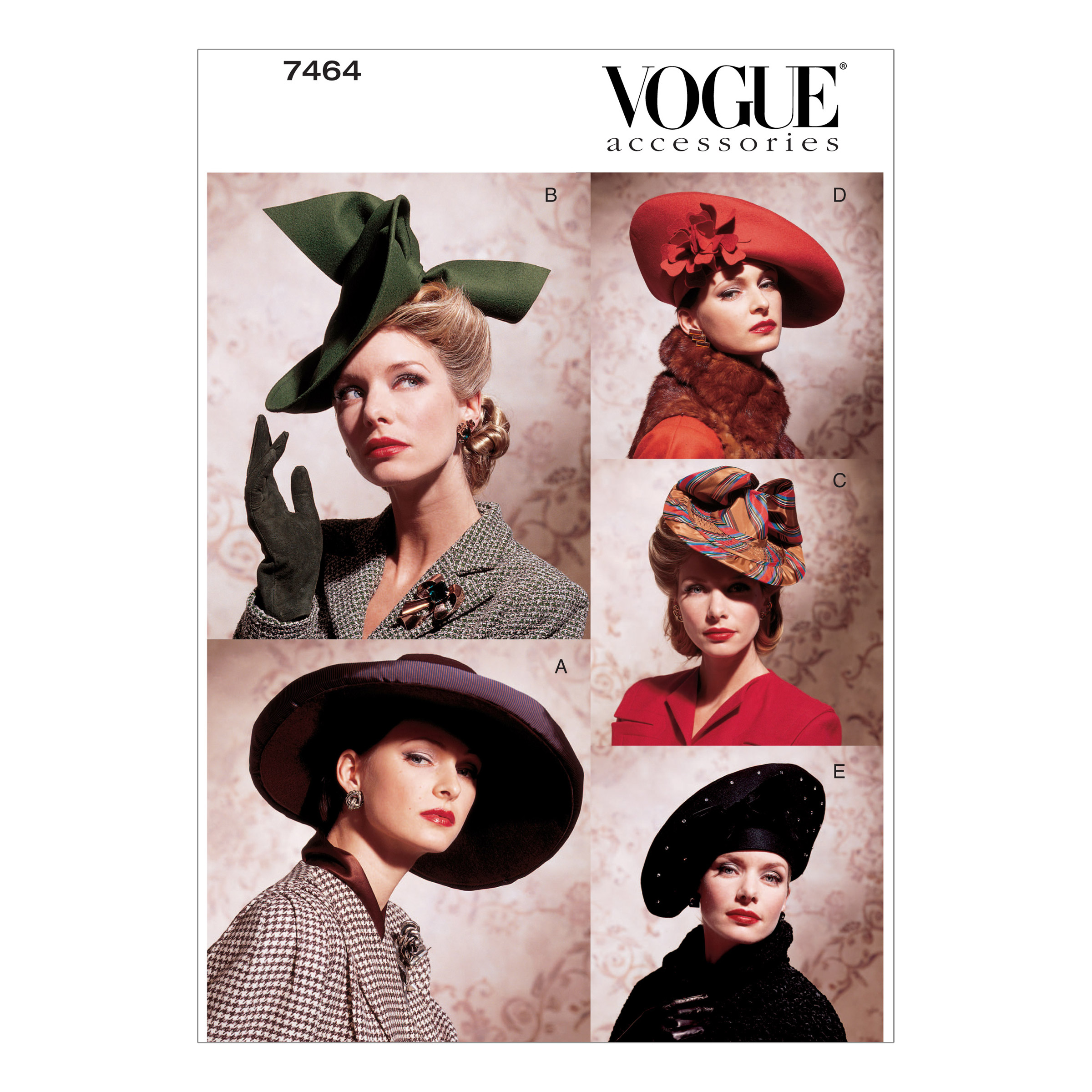 1940s Style Hats Vogue Vintage Hats Pattern V7464 Size OSZ $12.98 AT vintagedancer.com