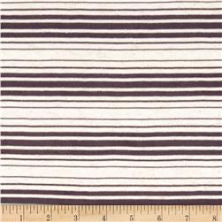 Sheer Yarn-Dyed Striped Jersey Knit Raisin