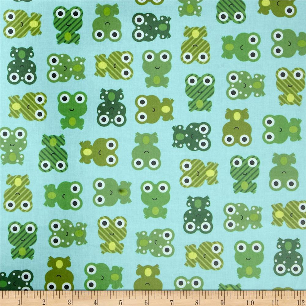 Urban Zoologie Slicker Laminated Cotton Leapfrogs Green