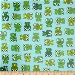 Urban Zoologie Slicker Laminated Cotton Leapfrogs Green Fabric
