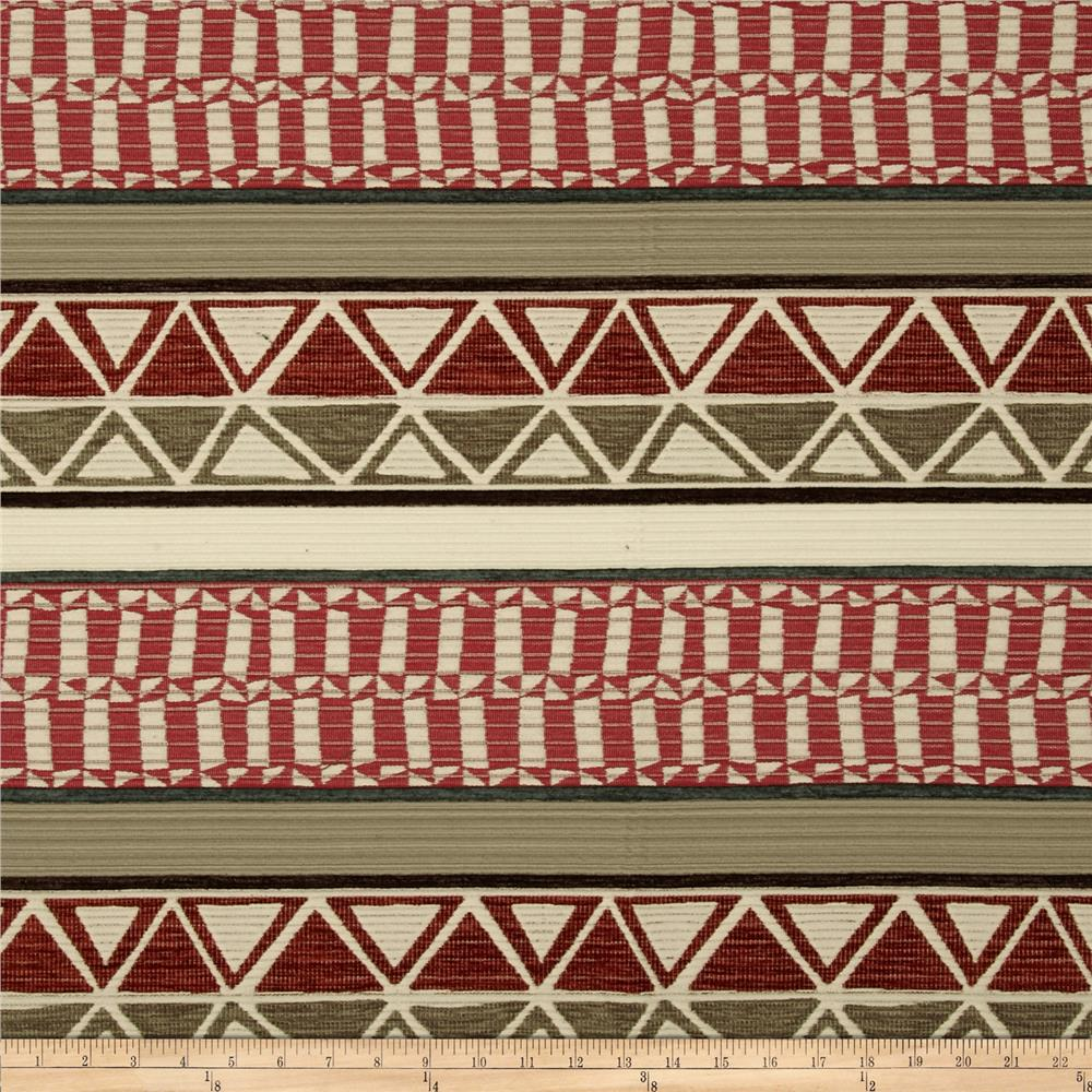 Robert Allen Promo Tahoe Stripe Chenille Red Earth