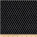 Timeless Treasures Knitting Chickens Chicken Wire Black