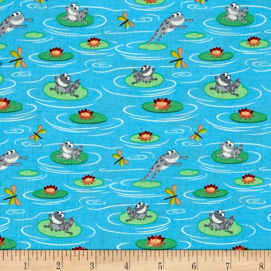 Camping Club Frogs Light Blue Fabric by Stardom Specialty in USA