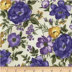 Timeless Treasures Violet Medium Floral Cream