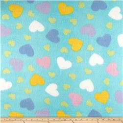 Fleece Print Happy Heart Turquoise