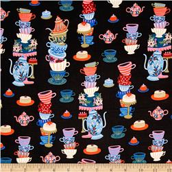 Cotton + Steel Rifle Paper Co. Wonderland Mad Tea Party Black