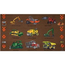 "Detour Ahead Bulldozers 24"" Panel Brown"