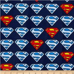 Superman Flannel Logo Blue Fabric