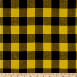 Cotton Lawn Buffalo Plaid Black/Lemon