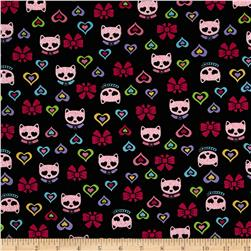 Timeless Treasures Glitter Cats Black