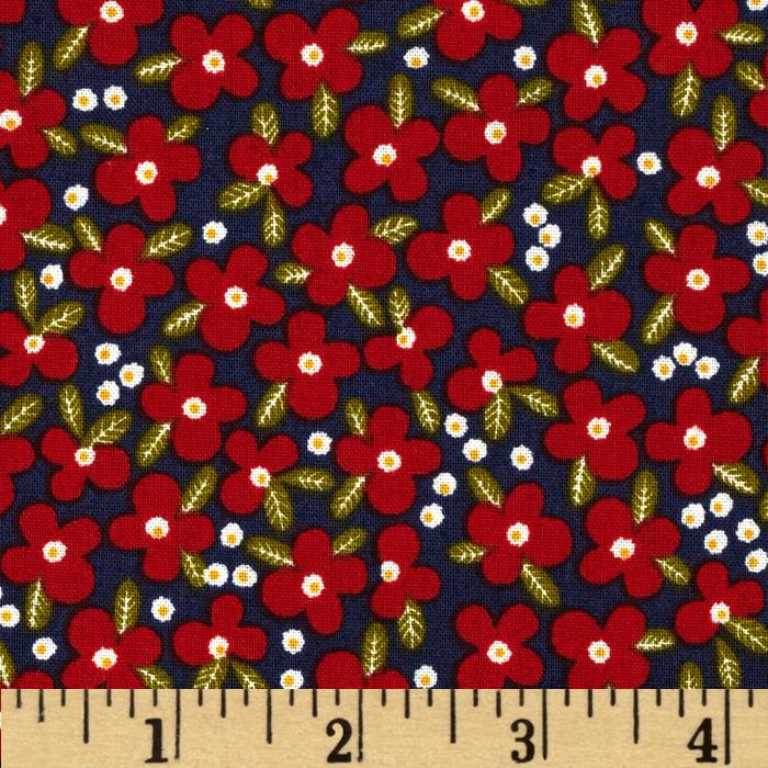Petite Fleurs Poppies and Leaves Navy