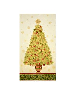 "Kaufman Winter's Grandeur 4 Metallics 24"" Tree Panel Holiday"