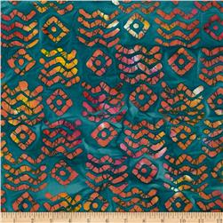 Indian Batiks Aztec Teal/Orange