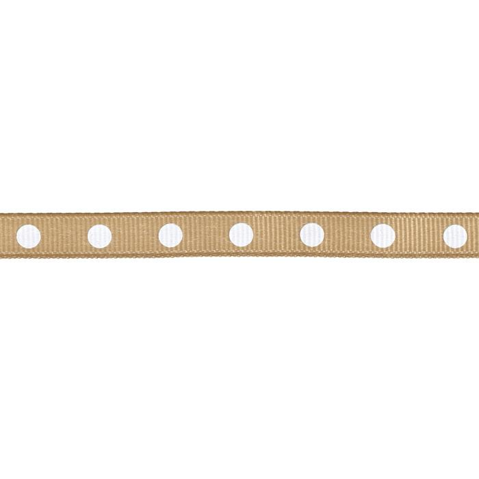 "3/8"" Grosgrain Ribbon Dot White/Natural"