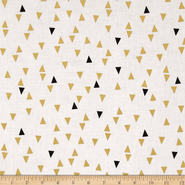 Bold & Gold Metallic Floating Triangle White