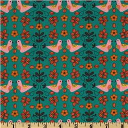 Little Kukla Flowers And Birds Retro Teal